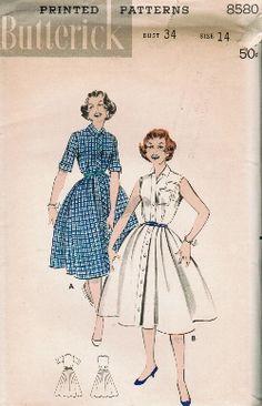 Vintage 50s Button Front Shirtwaist Full Skirt Dress Sewing Pattern Butterick 8580 B34