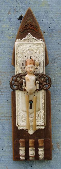 Assemblage Shrine Mixed Media Found Objects Vintage Doll Art