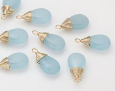 Blue Jade Pendant(small) Polished Gold -Plated - 2 Pieces [BM0013-PGBL]