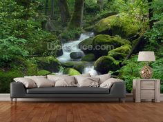 Mossy Waterfall wall mural in-room view