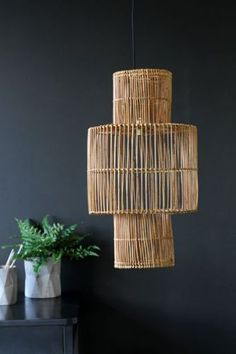Rattan furniture is a particular style of furniture developed generally from the rattan vine. Found in SE Asia and other tropical climes, the rattan vine has been utilized for many years to develop furniture and family unit products. Rattan Lamp, Rattan Furniture, Wooden Lampshade, Rockett St George, Interior Exterior, Room Interior, Home Living, Living Room, Lamp Shades