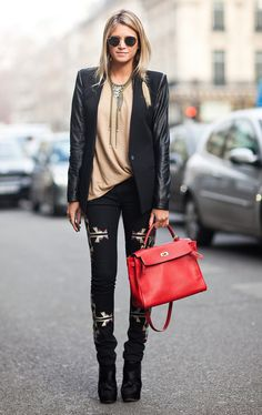 umano Street Style: Sick geometric print leggings and that p.o.c. red tote.....