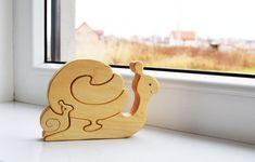 Puzzle bois jouet d'escargot. En bois jouets par LadyEvaDESIGN