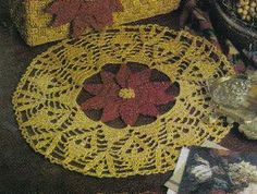 Free Crochet Pattern ~ Christmas   Poinsettia Doily