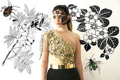 Karen Karam embellished top with black satin pencil skirt and metal belt. illustration for campaign book