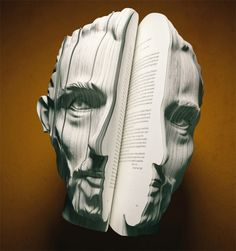 "A series of print ads for Dutch Book Week by Van Wanten Etcetera. This years theme was the ""autobiography"", so portraits of Anne Frank, Vincent van Gogh, Louis van Gaal and Kader Abdollah were created from books as centerpieces for the ad campaign. Vincent Van Gogh, Frank Vincent, 3d Portrait, Portraits, Altered Books, Altered Art, 4 Image, Street Art, Poesia Visual"