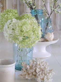 Hydrangeas in mason jar with coral nautical accents or starfish for décor.  We could use pink white and blue hydrangeas!