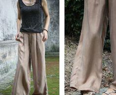100% Genuine Silk Natural Comfortable loose Pants silk pants Women's Pants long culottes Long Trousers  Ultra wide leg trousers