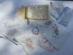 Faux Silk Handkerchief Holder Pocket with Fourteen Vintage Hankies
