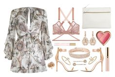 """""""Karmic Pink"""" by sophiehackett ❤ liked on Polyvore featuring Marc Jacobs, Zimmermann, Park House, Gianvito Rossi, Lonely, Beautycounter, Anne Klein, LC Lauren Conrad, Suzanne Kalan and Hop Skip & Flutter"""