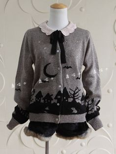 Festive and perfect grey/black spooky silhouette cardigan! I just love this, and it looks so cozy!