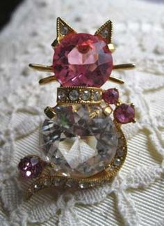 Eisenberg '50s cat brooch pink glass and rhinestones vintage designer brooch pin figural 1950s costume jewelry x