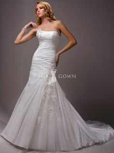 strapless a-line wedding gown with bubble hem train and corset back