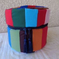 Storage round box of multicolour patchwork fabric handmade