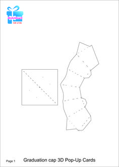 Graduation cap 3D Pop-Up Card/kirigami pattern 1