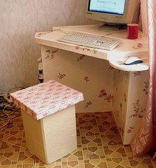Компьютерный стол из картона. МК
