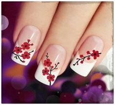 43 Cute Spring Teen Girls with Flower Nail Art Design - Nailart Flower Nail Designs, French Nail Designs, Simple Nail Art Designs, Flower Nail Art, Cute Nail Designs, Pedicure Designs, Flower Pedicure, Awesome Designs, Floral Designs