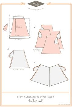 Flat Gathered Elastic Skirt Tutorial - with pockets! Diy Clothing, Sewing Clothes, Clothing Patterns, Sewing Patterns, Sewing Coat, Skirt Patterns, Coat Patterns, Blouse Patterns, Sewing Hacks
