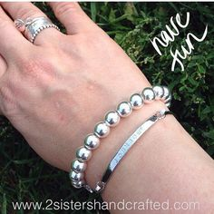 Personalized Skinny Bar Bangle Hand Stamped by 2sistershandcrafted