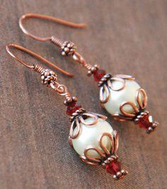 Pearl Earrings Red Swarovksi Beads Copper Bali by lilabelledesign, $19.00   Pearl Earrings, Red Swarovksi Beads, Copper Bali Style Bead Caps - Cute Drop Earrings , Autumn Winter, Red Earrings - Christmas Gifts   https://www.etsy.com/listing/66290380/pearl-earrings-red-swarovksi-beads