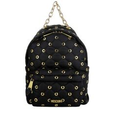 Moschino Tasche – Quilted Studs Nylon Backpack Small Black Gold…