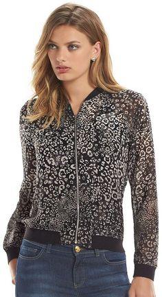 Women's Juicy Couture Leopard Chiffon Bomber Jacket