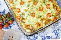 Omelete de Forno com Abobrinha, Queijo e Tomatinhos