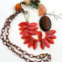 Ethnic Beaded Statement Necklace Pink Necklace by ThreeTrees, $56.00