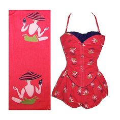 Vintage 50s novelty print beach theme petal bust pinup swim bathing play suit VLV