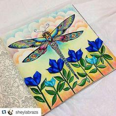 Instagram media desenhoscolorir - Que perfeição! #Repost @sheylabrazs with @repostapp ・・・#desenhoscolorir #libélula em 3D, porque quando falta uma idéia a gente arruma outra idéia... ✨✨✨ #florestaencantadatop #florestaencantada #enchantedforest #johannabasford