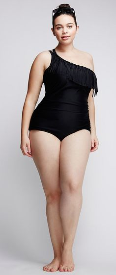 Plus Size Fringe Swimsuit