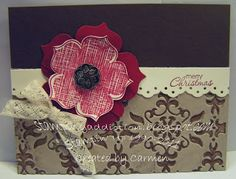 SU Raining Flowers-stamped flower, Fun Flowers die-cut out flower *sub My Spellbinders poinsettia die for both, Vintage Wallpaper E F- inked it up with early espresso ink before I ran it through the big shot to get the double colors, then I water colored some shimmer paint into the debossed parts to give a bit of shimmer to it (Dec 10, 2011)