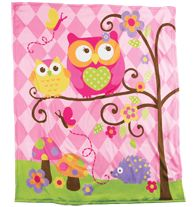 """Pink Owl Room Throw $16.99 Extra-large 50"""" W x 60"""" L throw. Ages 6 and up. Polyester fleece. Machine wash. Imported. Product #062-356"""