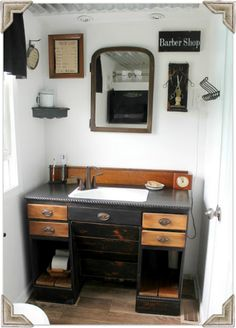 Great Bath - Love the furniture piece converted to a sink vanity! - Knick of Time: Sonday - {The Old Fashioned Faith}