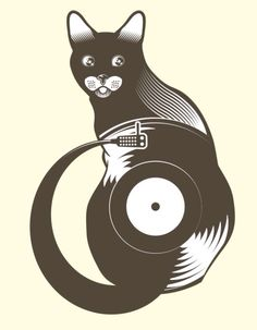 Cat record player - great picture!