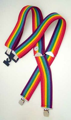 rainbow suspenders...just like Mork!  My brother had some!
