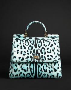 Dolce & Gabbana mint leopard Miss Sicily tote
