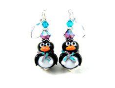 Penguin Earrings Purple Teal Lampwork by GlassRiverJewelry on Etsy, $29.00