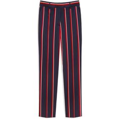 Mulberry Elfie Trousers ($510) ❤ liked on Polyvore featuring pants, straight leg pants, straight leg trousers, striped pants, tailored trousers and blue pants