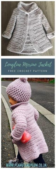 Baby Knitting Patterns Longline Merino Wool Coat – Free Crochet Pattern – Peanut an...