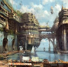 Digital Art and wallpaper showcase of anime art, fantasy art, sci fi art, wallpapers and illustrations. Cityscape, Fantasy Artwork, Fantasy Art, Futuristic City, Fantasy Landscape, Fantasy City, Digital Painting, Environmental Art, Scenery