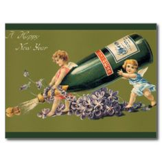 Vintage Angels with Champagne; A Happy New Year Post Card