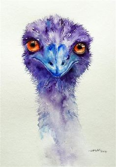 "Daily Paintworks - ""Emu Bird Portrait"" by Arti Chauhan Watercolor Portraits, Watercolour Painting, Watercolor Bird, Watercolours, Watercolor Animals, Wildlife Art, Bird Art, Ostriches, Animal Paintings"