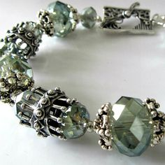 Crystal beaded bracelet, sea green crystals, white bronze beads, beaded jewelry, Sea Mist