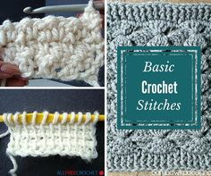 31 Basic Crochet Stitches + step-by-step instructions on how to crochet a slip knot, a foundation chain and how to crochet a single crochet, double crochet and treble crochet stitches!