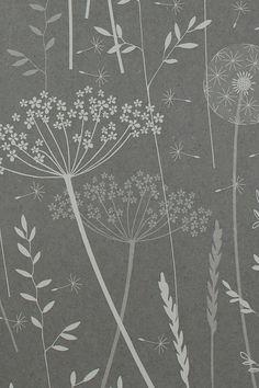 Hannah Nunn Paper Meadow wallpaper in charcoal