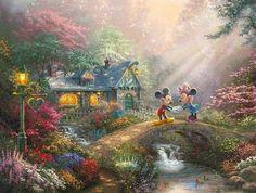 Mickey and Minnie   Sweetheart Bridge, Thomas Kinkade Studios