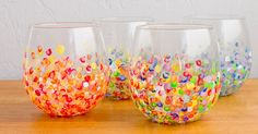 Gather your girlfriends for a fun afternoon of crafting while making these colorful and unique hand-dotted tumblers. Along with being easy to create, the finished tumblers cost around $3 each to make. Pick up tumblers from your local resale shop or