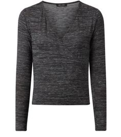 "Bring this dark grey wrap front top into an evening wardrobe by pairing with black coated leggings and a faux fur jacket - perfect party style.- Wrap front- Simple long sleeves- V neck- Slim fit- All over space dye design- Model is 5'8""/176cm and wears UK 10/EU 38/US 6"