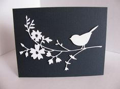 3D White Bird with Blossoms on Textured Midnight Blue or White Linen Card. Wedding. Anniversary. Get Well. Sympathy. A2 Size. Made to Order